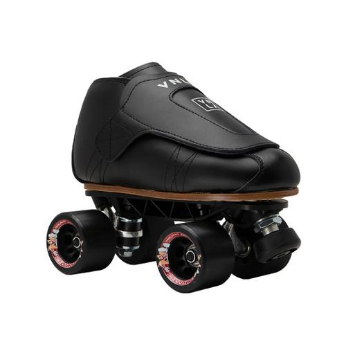 Front Facing Black VNLA Freestyle Roller Skates with black wheels from Roller Skate Nation