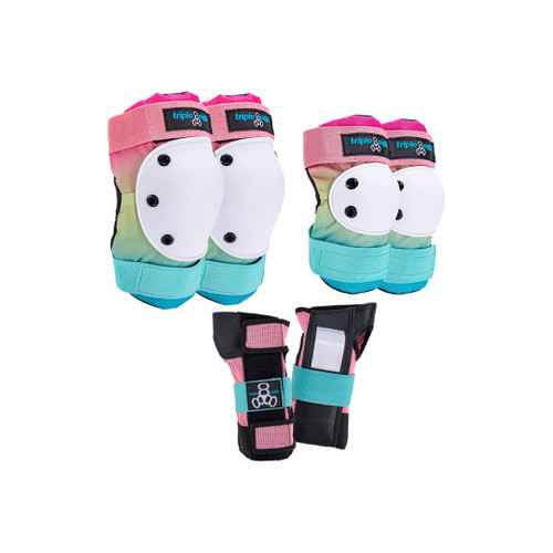 Front Facing Pink Green and Blue Shaved Ice Triple 8 Saver Series Pads from Roller Skate Nation 1