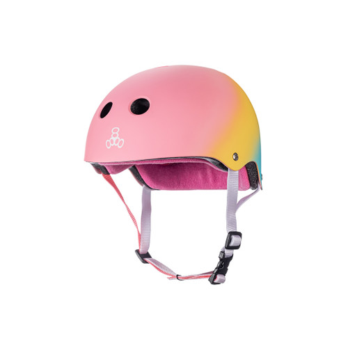 Front Facing Pink Yellow Blue Shaved Ice Triple 8 Sweatsaver Helmet from Roller Skate Nation