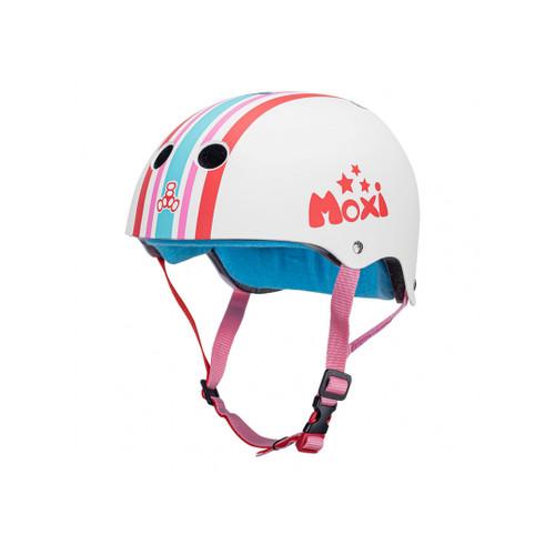 Front Facing White Triple 8 Moxi Sweatsaver Helmet from Roller Skate Nation