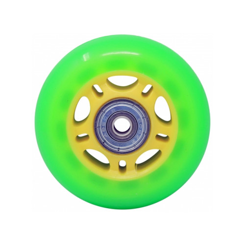 Front Facing Green and Yellow Kids Inline Replacement Wheels from Roller Skate Nation