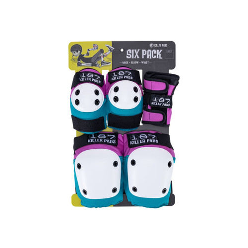 Front Facing Teal Blue and Purple 187 Killer Adult Pads from Roller Skate Nation