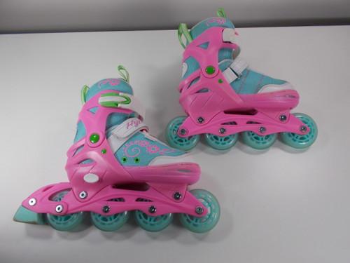 Slightly Used Pink and Blue Lenexa Sherbet Adjustable Roller Blades from Roller Skate Nation 1