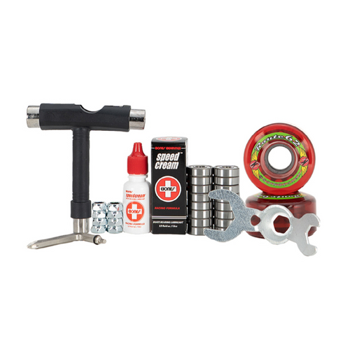 Front Facing Red 62mm Sure-Grip Route Outdoor Wheel Combo Kit from Roller Skate Nation