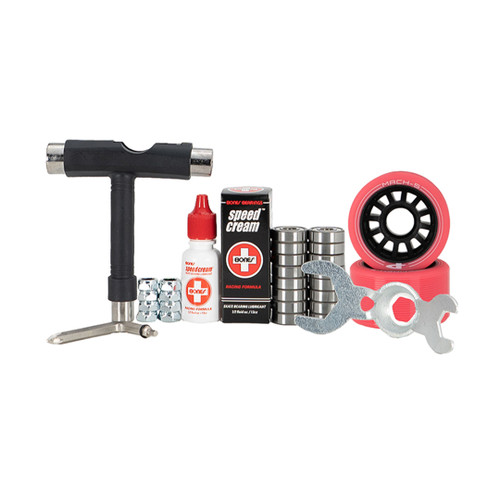 Front Facing Pink and Black Mach 5 Indoor Wheel Combo Kit from Roller Skate Nation