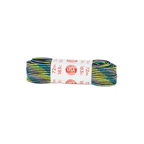Front Facing Green Teal and Grey Roller Skate Nation Striped Laces from Roller Skate Nation