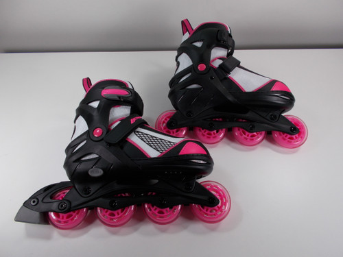Slightly Used Black and Pink Lenexa Venus Adjustable Roller Blades from Roller Skate Nation 1