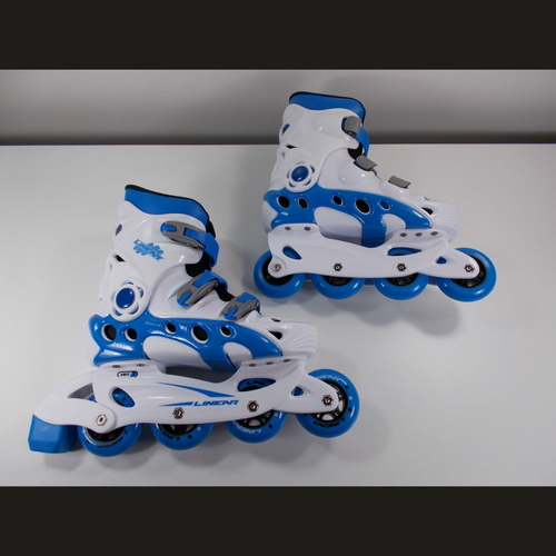Slightly Used White and Blue Linear Durango Roller Blades from Roller Skate Nation 1