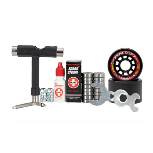 Front Facing Black Cosmic Superfly Hybrid Wheel Combo Kit from Roller Skate Nation