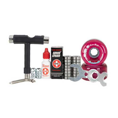 Front Facing Pink Sure-Grip Boardwalk Outdoor Wheel Combo Kit from Roller Skate Nation