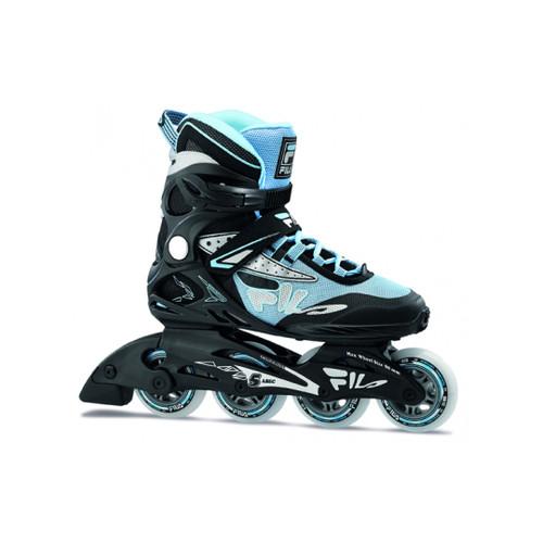 Front Facing Black/Light Blue FILA Legacy Comp Inline Skates from Rollerskatenation