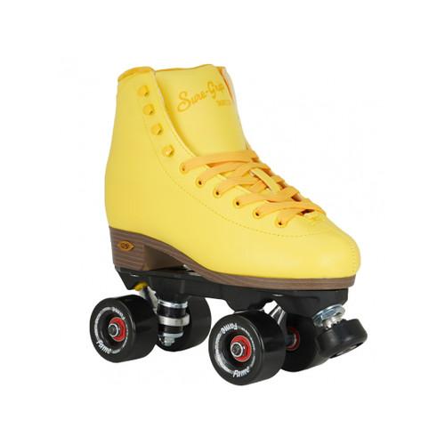 Front Facing Yellow Sure-grip Fame Golden Hour Roller Skates from Roller Skate Nation