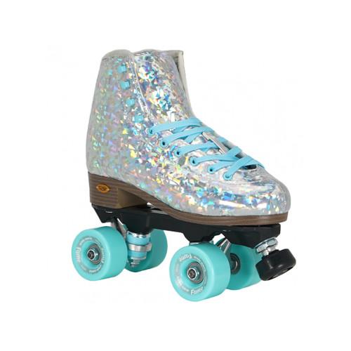 Front Facing Silver Sure-grip Prism Roller skates from Roller Skate Nation
