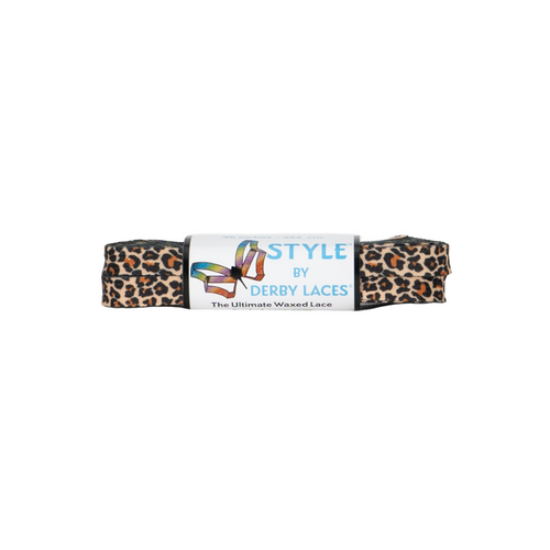 Front Facing Brown Leopard Derby Laces from Roller Skate Nation