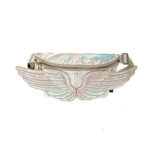 Front Facing Silver Fydelity Wings Fanny Pack from Roller Skate Nation