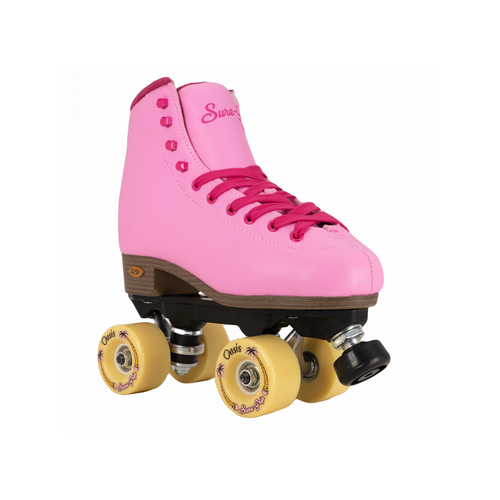 Front Facing Pink Passion Sure-grip Fame Roller Skates from Roller Skate Nation