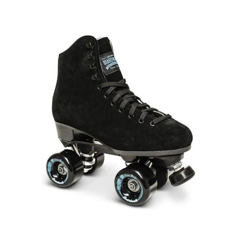 Front Facing Black Sure-Grip Boardwalk Roller Skates from Roller Skate Nation