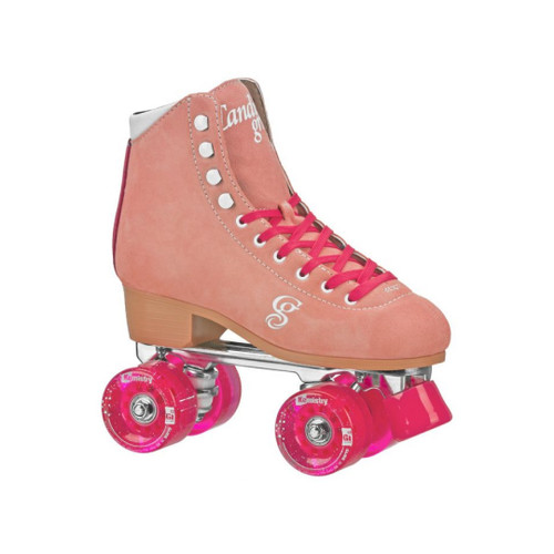 Front Facing Peach/Pink Candi Girl Carlin Roller Skates from Roller Skate Nation