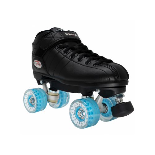 Front Facing Riedell R3 Roller Skates with blue wheels from Roller Skate Nation