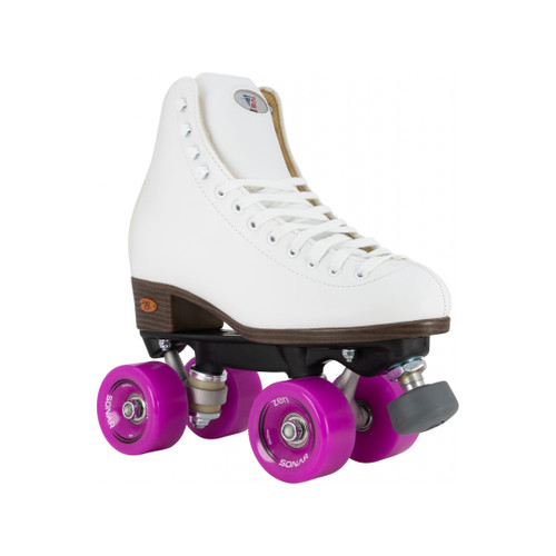 Front Facing White Riedell 111 Roller Skates with Purple Wheels