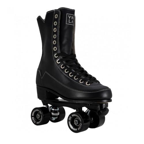 Front Facing VNLA Godfather Roller Skates with black wheels from Roller Skate Nation