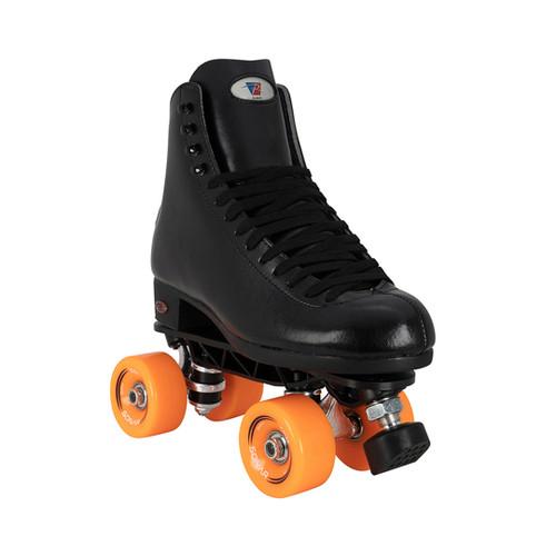 Front Facing Black Riedell 120 Roller Skates with orange wheels from Roller Skate Nation