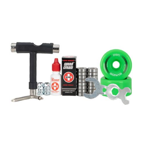 Front Facing Green Sonar Zen Outdoor Wheel Combo Kit from Roller Skate Nation