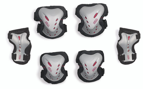 Front Facing Silver Magenta and Black FILA Adult Protective Gear from Roller Skate Nation 1