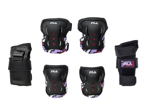 Front Facing Magenta Purple and Black FILA Kids Protective Gear from Roller Skate Nation 1