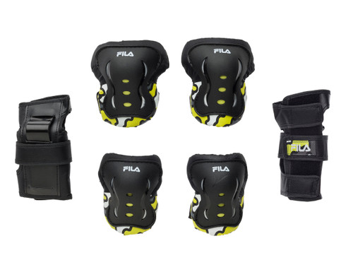 Front Facing Yellow and Black FILA Kids Protective Gear from Roller Skate Nation 1