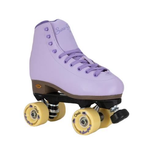 Front Facing Lavender Sure-grip Fame Roller Skates  from Roller Skate Nation