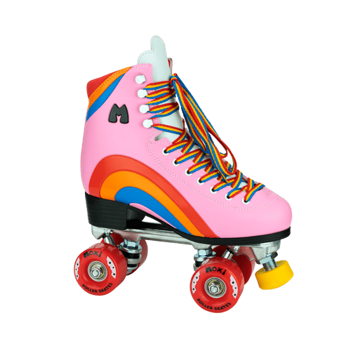 Front Facing Pink Moxi Rainbow Rider Roller Skate from Roller Skate Nation