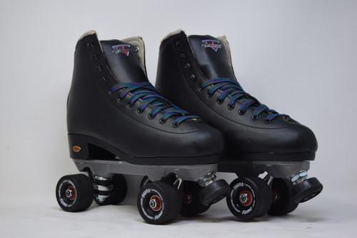 Slightly Used Sure-Grip  Fame Indoor Roller Skates   Black, Men's 10 (Ladies' 11)