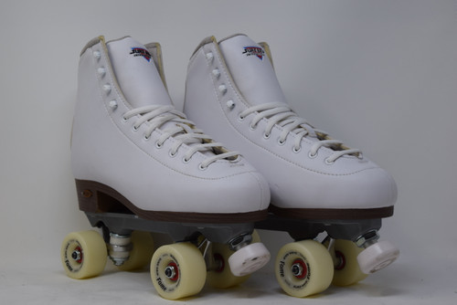 Slightly Used Sure-Grip Fame Indoor Roller Skates   White, Men's 11 (Ladies' 12)