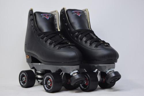 Slightly Used Sure-Grip  Fame Indoor Roller Skates   Black, Men's 6 (Ladies' 7)