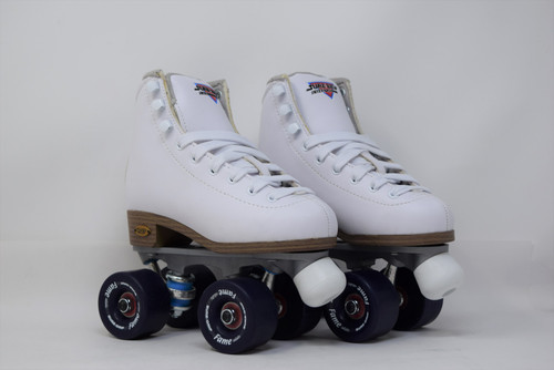 Slightly Used Sure-Grip Fame Indoor Roller Skates   White, J13
