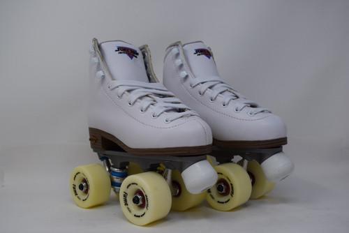 Slightly Used Sure-Grip Fame Indoor  Roller Skates | White, J13
