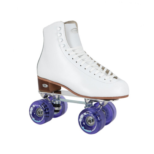 Side Facing White Riedell 220 Roller Skates  with purple wheels from Roller Skate Nation
