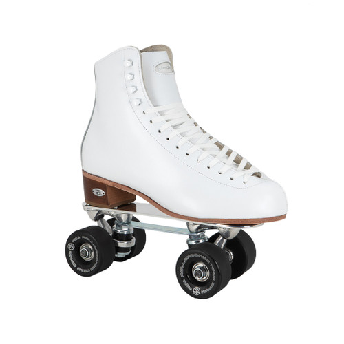 Front Facing White Riedell 220 Roller Skates  with black wheels from Roller Skate Nation