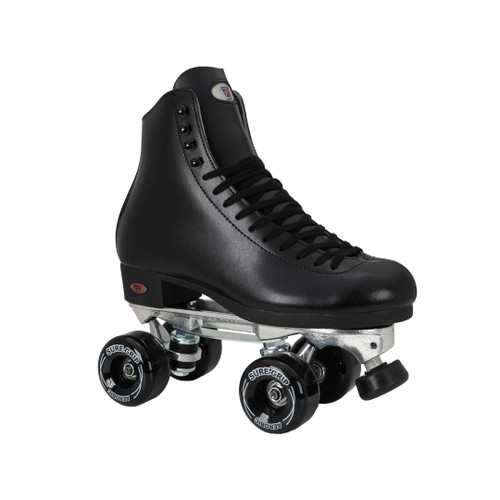 Front Facing Black Riedell 120 Roller Skates with black wheels from Roller Skate Nation