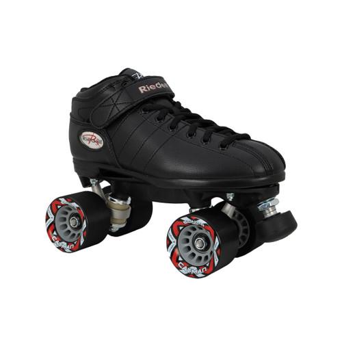 Front Facing Black Riedell R3 Speed Roller Skates