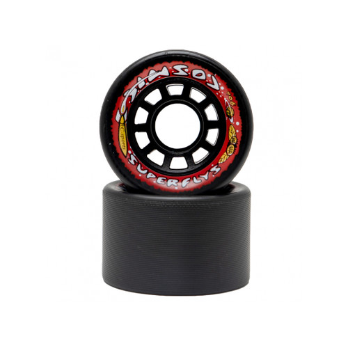 Front Facing Black Cosmic SuperFly Hybrid Wheels from Roller Skate Nation