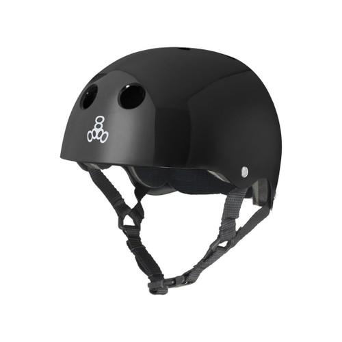 Front Facing Black Triple 8 Glossy Helmet from Roller Skate Nation