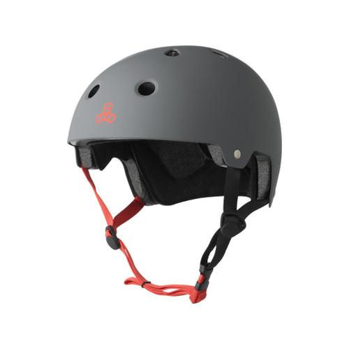 Front Facing Grey Triple 8 Matte Helmet from Roller Skate Nation