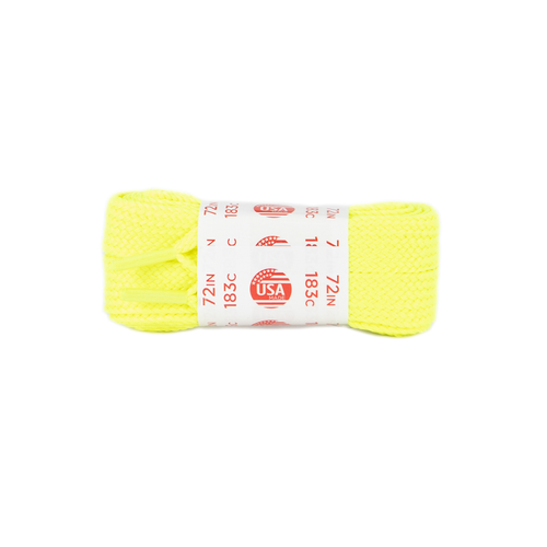 Front Facing Neon Yellow Roller Skate Nation Fat Laces from Roller Skate Nation