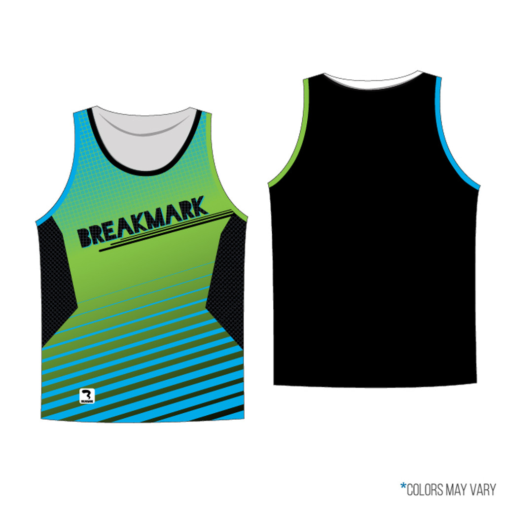 Breakmark Front Panel Tank Dark with Black Back, Lime and Electric Blue Arm Piping and Black Neck Piping