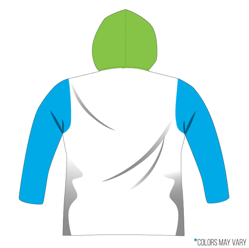 Breakmark Front Panel Long Sleeve Hood Back Light with Electric Blue Sleeves, White Back and Lime Hood