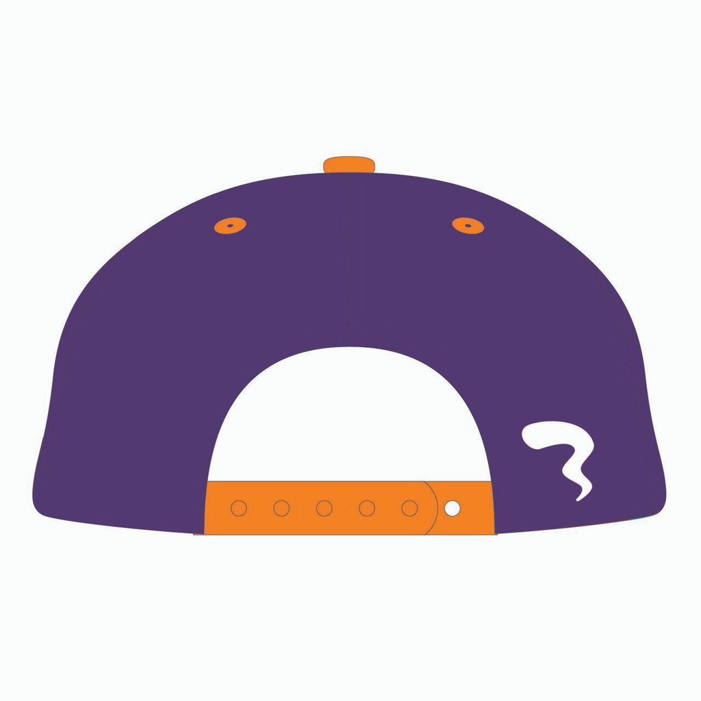 Back of 90s Throwback Orange/Purple Design