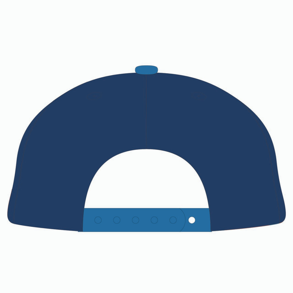 Back of blue baseball hat.