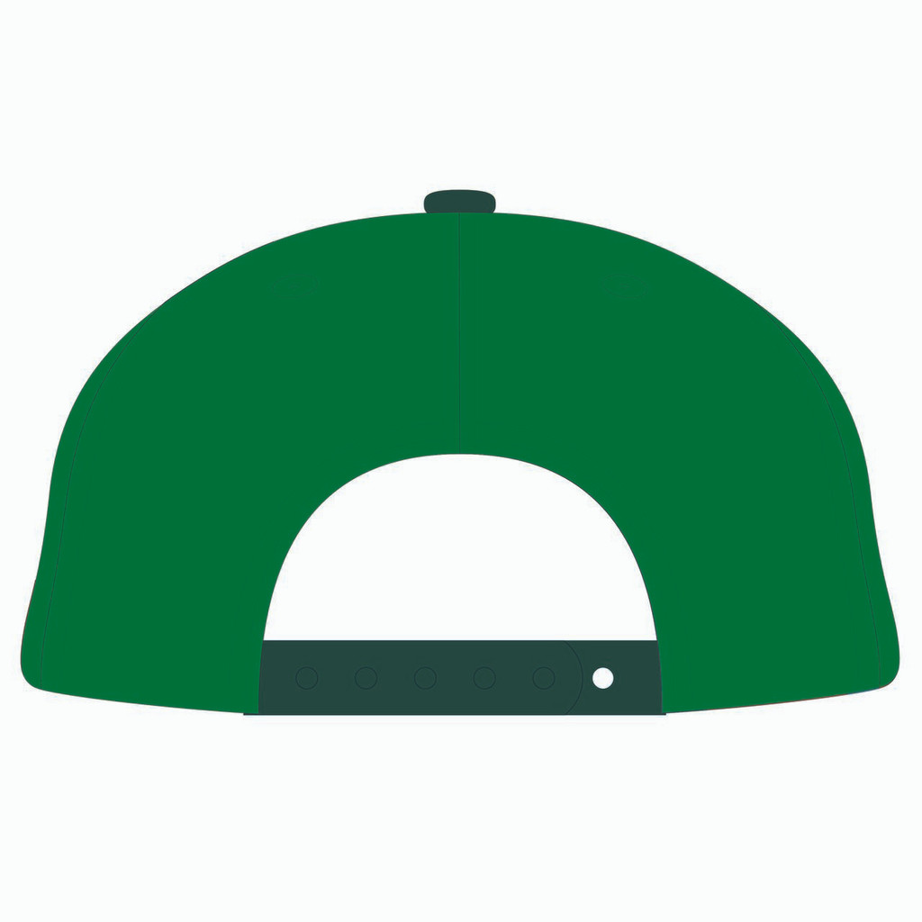 Back of green baseball hat.